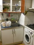 My kitchen: a washer and stove included..